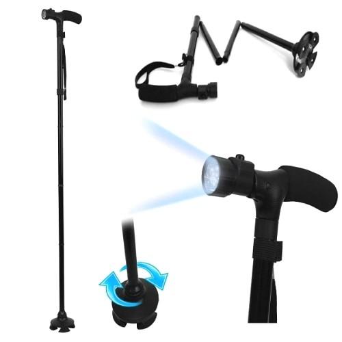 Baston telescopic de sprijin, pliabil, 5 leduri-0