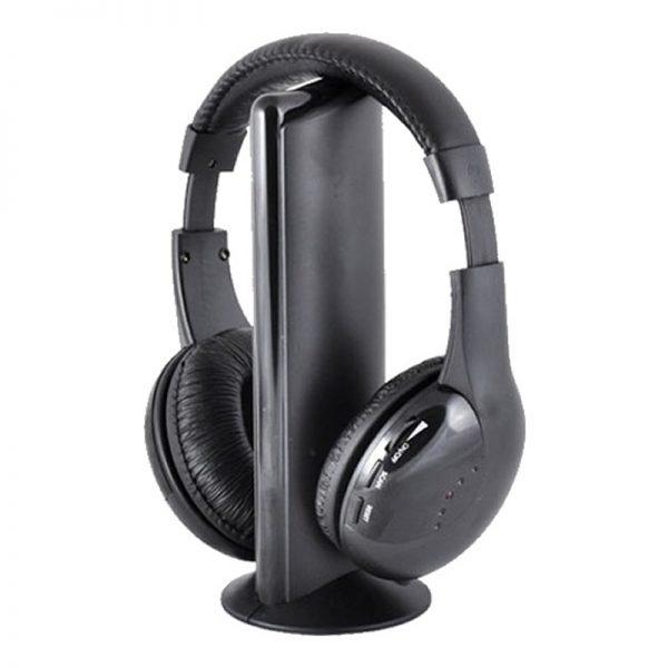 Casti wireless cu radio 5 in 1 MH2001, Negru-0